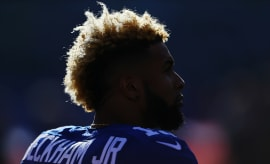 Odell Beckham Jr. looks on during Giants game