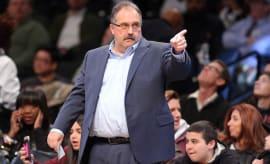 Detroit Pistons head coach Stan Van Gundy coaches against the Brooklyn Nets.