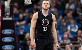 Blake Griffin stares out into the crowd in disbelief.