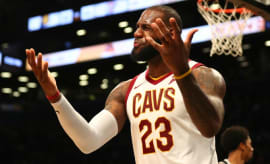 LeBron James reacts to a call.