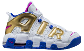 Nike Air More Uptempo GS White Fuchsia Blast Metallic Gold Racer Blue  Release Date 415082- b64270d443