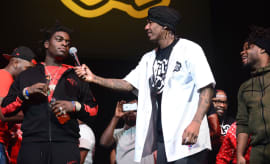 Nick Cannon and Kodak Black perform during the Nick Cannon's Wild N Out Tour