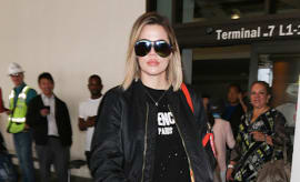 Khloe Kardashian is seen at LAX