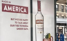 A Smirnoff ad pops up at a train station in New York.