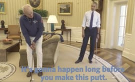 Bill Murray and Obama playing golf
