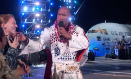 The Rock does his best Elvis for variety special