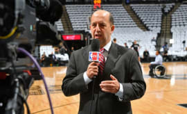 Jeff Van Gundy films a segment for ESPN.