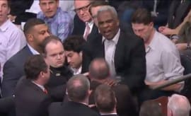 Charles Oakley during confrontation at Madison Square Garden.