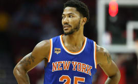 Derrick Rose during a Knicks preseason game.