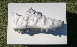 Odell Beckham Nike Air More Uptempo White Cleats Profile