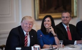 Donald Trump smiles during a roundtable