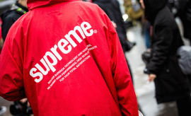 Red raincoat Supreme details