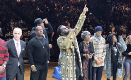"Diddy addresses Brooklyn Nets crowd during ""Biggie Night."""