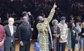 "Diddy addresses Brooklyn Nets crowd during ""Biggie Night."""