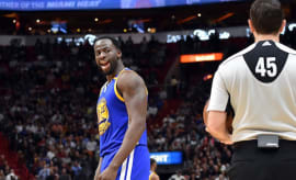Draymond Green gets into it with referee.