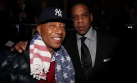 Russell Simmons and Jay-Z attend the grand re-opening of Jay-Z's 40/40 Club