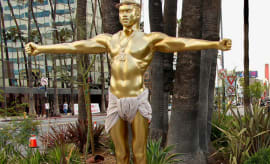 A Kanye West statue that propped up in L.A. on Wedensday.
