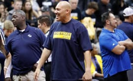 LaVar Ball wears a Big Baller Brand T-shirt at a UCLA game.
