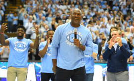 Michael Jordan gives a speech during a UNC basketball game.