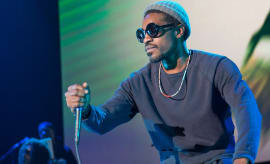 Rapper Andre 3000 performs on stage during the 2016 ONE Musicfest at Lakewood Amphitheatre.