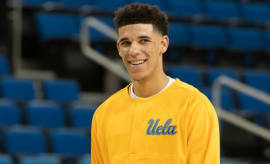 Lonzo Ball laughs before a UCLA game.