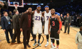 Dwyane Wade, LeBron James, Carmelo Anthony, and Chris Paul at the NBA All-Star Game.