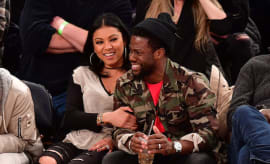 Eniko Parrish and Kevin Hart attend Cleveland Cavaliers Vs. New York Knicks game