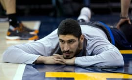 Enes Kanter warms up before a Thunder game.