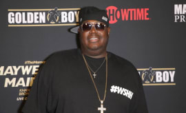 Worldstar Hip Hop CEO Lee 'Q' O'Denat arrives at the pre-fight party