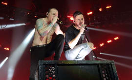 Chester Bennington and Mike Shinoda of Linkin Park perform at The O2 Arena
