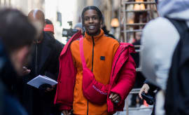 ASAP Rocky wearing a crossbody bag