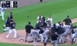 The Tigers and Yankees brawl at home plate.