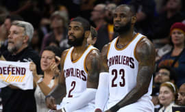 Kyrie Irving and LeBron James during Game 4 of the 2017 NBA Finals.