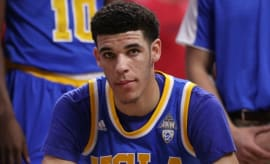 Lonzo Ball sits on the bench for UCLA.