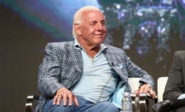 Ric Flair speaks on a panel.