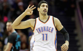 Enes Kanter #11 of the Oklahoma City Thunder