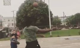 Joel Embiid swats a kid who tried to score an easy layup on him.