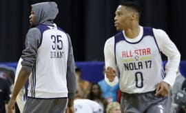 Kevin Durant and Russell Westbrook at an NBA All-Star Game practice.