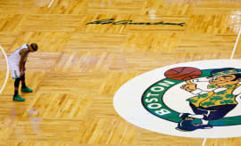 Isaiah Thomas stands alone during the 4th quarter of Game 1 of the First Round of the NBA Playoffs.