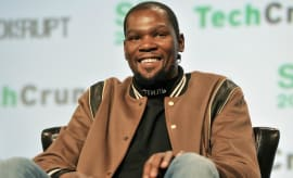 Kevin Durant smiles at Tech Crunch.