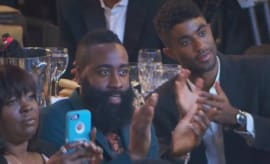 James Harden claps for Nicki Minaj.