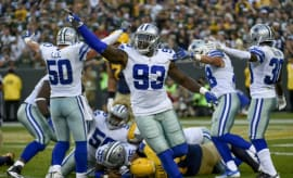 Benson Mayowa playing in Cowboys game against Packers
