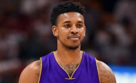 Nick Young reacts to a call on the court.