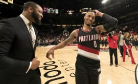 Damian Lillard walks off the court after a Blazers game.
