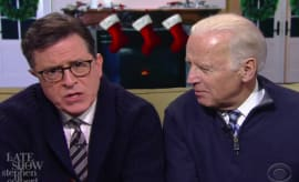 Biden and Colbert