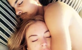 Lindsay Lohan and Boyfriend Sleeping