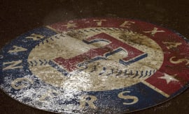 Texas Rangers logo during a rain delay.