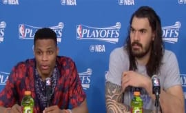 russell westbrook at the podium