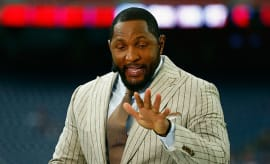 Ray Lewis is seen on the ESPN set