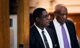 Bill Cosby departs the courtroom after the fifth day of trial